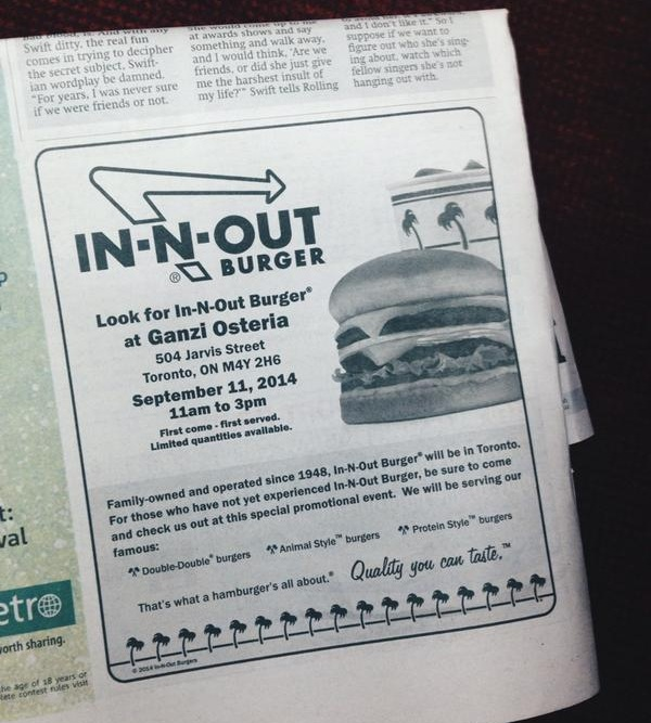 In out burger ad