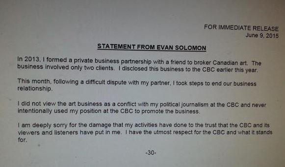 Evan solomon statement