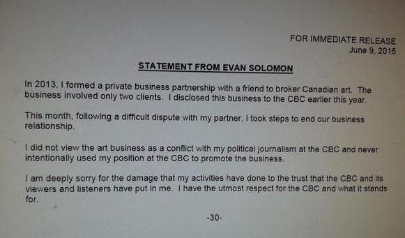 Evan solomon statement