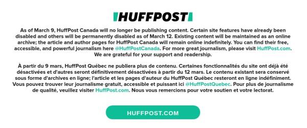 Huffpost-canada-shutdown